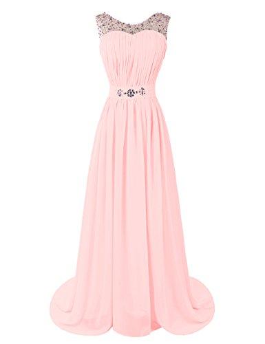 Dresstells, Robe de soirée de mariage/cérémonie/demoiselle d'honneur forme princesse traîne moyenne avec strass Blanc