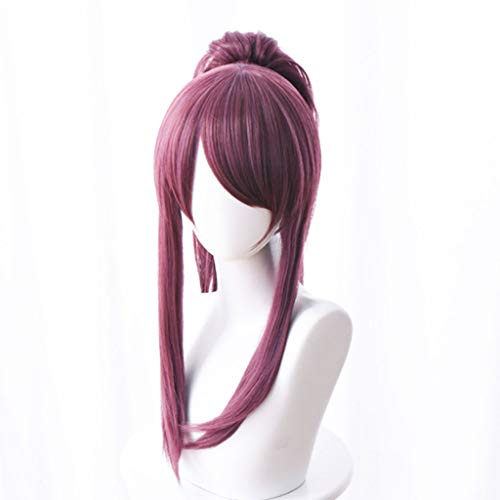 KHJK Haarstyling League of Legends (Akali KDA) Spiel Cosplay Rose Net Perücken mit Pony 100% hochtemperaturbeständige Faser Dark Purple Short Glattes Haar 18 Zoll ()