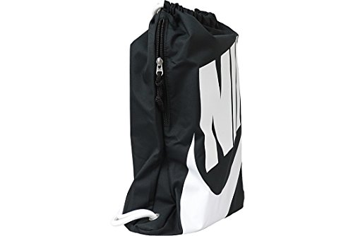 Nike Herren Heritage Turnbeutel, Black/White, 43 x 33 cm (Kordelzug Unisex Schwarz)