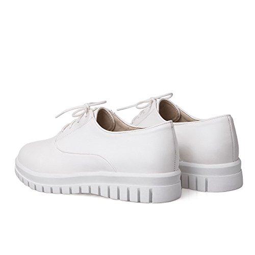 VogueZone009 Femme Lacet Rond à Talon Bas Pu Cuir Couleur Unie Chaussures Légeres Blanc