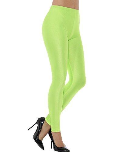 Smiffys, Damen 80er Jahre Disko Elastan Leggings, Größe: 36-38, Neon Grün, (80er Looks Party 80er Jahre)
