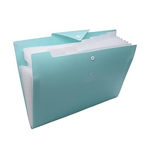 Expanding File Folder, Sayeec simple Matériau de revêtement que vous Ayez besoin léger A4Lettre Taille Organiseur de fichiers Document Organiseur pour bureau/école 8 Parts File Organiser 8 Parts File Organiser/Light Green