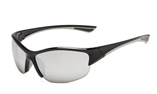Eyekepper Hälfte-Rahmen Sports Bifokal Sonnenbrille +3.50 Stärke,die Sonnenbrille liest (Silber Spiegel)