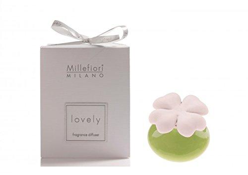 Millefiori milano lovely quadifoglio verde + ricarica 50 ml profumatore ambiente bomboniere diffusore tappo gesso (fragranza confetto)