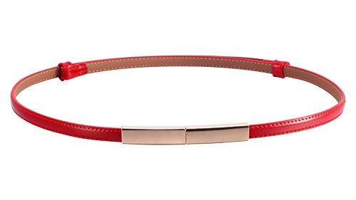 Motase Kleider Gürtel Damen Skinny Ledergürtel mit Goldschnalle L Rot (Rot-leder-kleid)