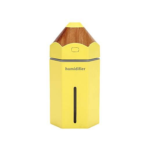 DERKOLY - Mini lápiz de Dibujos Animados portátil USB humidificador de Aire con Colorido LED luz Nocturna: Creativo difusor de Nieve purificador de Aire para Coche/hogar/Oficina/Escritorio/Dormitorio