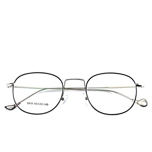 Yangjing-hl Metall Licht Handwerk Fuß flachen Spiegel Retro-Kunst Männer und Frauen Brillengestell kann mit Brillengestell schwarz silbernen Rahmen ausgestattet Werden