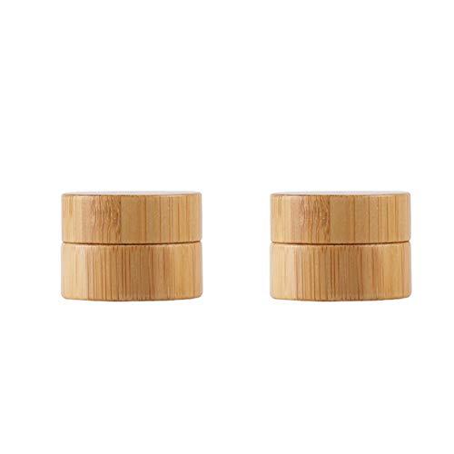 récipient cosmétique en bambou 2ST de motif de maquillage bois contenants de crème Pot retour Jar avec des couvercles à vis pour fard à paupières, ongles, poudres, couleur 5g
