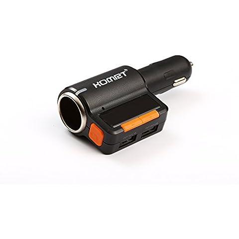 komrt FM transmisor adaptador Kit de coche Bluetooth inalámbrico de carga LED pantalla coche reproductor de mp3y manos libres Dual USB Puerto de carga para teléfonos móviles de GPS apto para iPhone y Android Teléfono,
