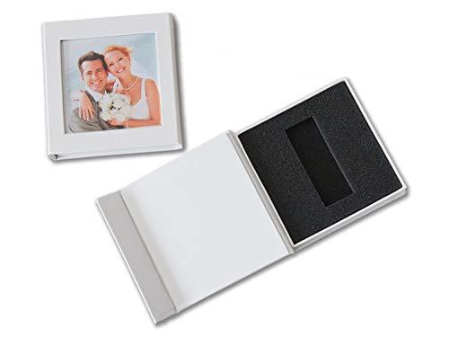 Hochzeit USB-Box mit Bildfenster. Kunstleder Weiss. Ohne USB-Stick