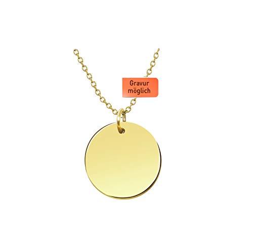 tte mit Gravur - Premium mit Plättchen 18k Gold vergoldet, Frauen Halskette mit rundem Anhänger, Plättchenkette, Goldkette, Gratis Geschenk! ()