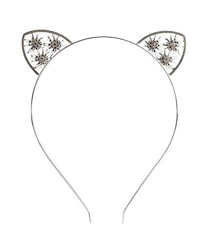 SIX Oktoberfest Haarschmuck Edelweiß, Metall, Katzenohren-Haarreif, Karneval, Fasching, mit Strass und Blumen Elementen (315-728)