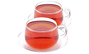 VAHDAM, Set of 2 Tea Cup & Saucer Borosilicate Glass​,​ Clear Cups, 250 ml Capacity - DURABLE - Tea Cup Set (2 Cups & 2 Saucers) - Microwavable Cup, Refrigerator Safe, Dishwasher Safe (GLITTER)