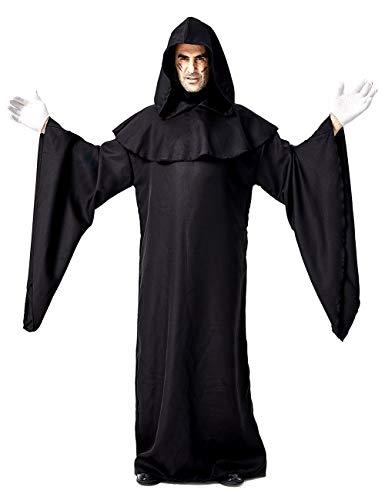 LaLaAreal Toga Negra de Halloween Emisario con Capucha Capa de túnica Disfraz de Cosplay para Adulto