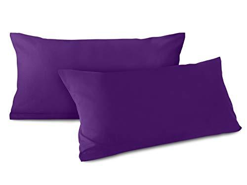 npluseins Doppelpack zum Sparpreis - Baumwoll-Kissenbezüge - Moderne Wohndekoration in schlichtem Design - 8 modernen Uni-Farben und 3 Größen, 40 x 80 cm, lila