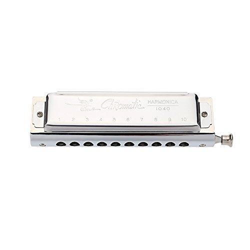 Swan Chromatische Mundharmonika 10 Löcher 40 Töne Tonart C Silber mit Vorzüglicher Kasten