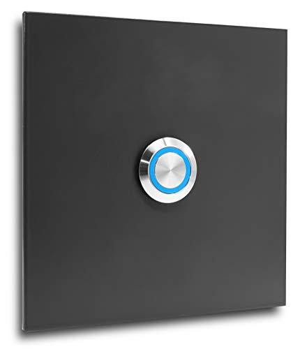 Edelstahl Klingelplatte Bochum 007 anthrazit RAL 7016 Türklingel mit LED Taster Klingel Klingelschild Edelstahlklingel (LED blau)
