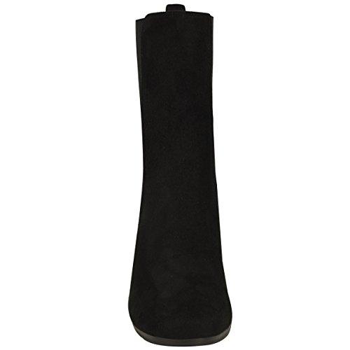 Donna Chelsea chunky tacco largo alto stivali caviglia elastico da infilare misura UK Nera Pelle Scamosciata