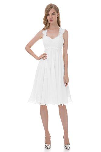 Erosebridal Kurze Spitze Chiffon Hochzeitskleid Brautkleid Weiß DE42