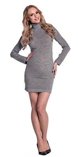 Happy Mama Donna Prémaman Vestito aderente lavorato a maglia collo alto. 888p Grigio chiaro