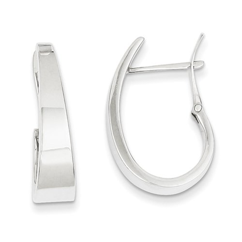 Oro bianco 14k 6 millimetri lucido Conico Fancy J-Orecchino ad anello da UKGems-White Gold Polished 6mm Tapered Fancy