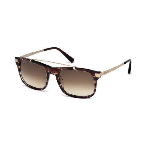 Dsquared2 - jamey dq 0218, geometrico, acetato/metallo, uomo, striped brown gold/brown shaded(50f r), 55/19/140