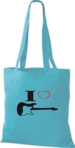 Shirtstown Stoffbeutel Musik I love E-Gitarre Sky