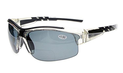 Eyekepper TR90 Unbreakable Sport Polycarbonat Polarisierte Bifokale Halbrandlose Sonnenbrille Baseball Laufen Angeln Fahren Golf Softball Wandern Transparenten Rahmen Graue Linse +3.0