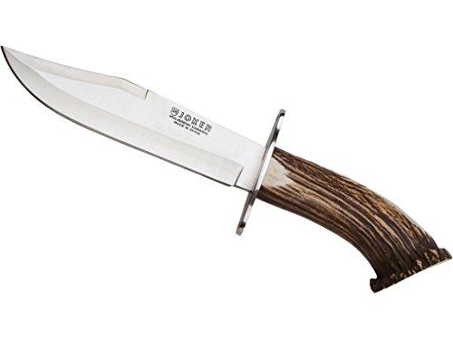 """Joker CN100 Messer Bowie 20\"""", Hirschhorngriff, Gürtelmesser mit 20 cm MOVA Stahlklinge, inkl. brauner Lederscheide, Werkzeug zum Angeln, Jagen, Camping und Wandern"""