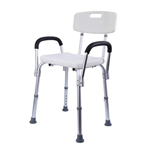 XuanYue Duschhocker Badhocker Einstellbar Badestuhl mit Rückenlehne und Armlehne Duschsitz für Ältere Menschen Behinderte