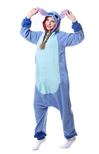 ZBSPORT Jumpsuit Tier Cartoon Fasching Halloween Kostüm Sleepsuit Cosplay Fleece-Overall Pyjama Schlafanzug Erwachsene Unisex Stich