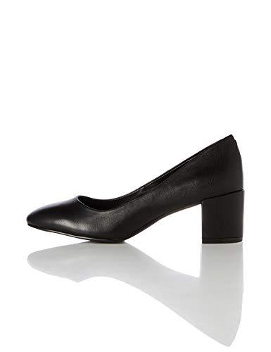 find. Leather Round Toe Block Heel Court Pumps, Schwarz Black), 38 EU Black Round Toe Pumps