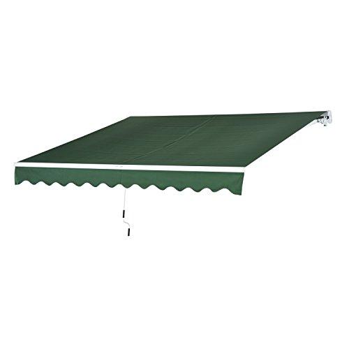 Outsunny - tenda da sole da esterno avvolgibile impermeabile verde scuro 3×2,5m