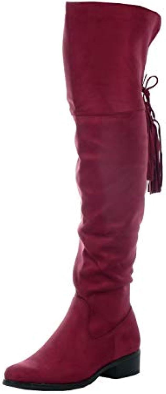 la mode féminine angkorly chaussures bottes cavalier cavalier cavalier soft string fringe block talon haut 3.5 cm b074kmh7yq parent ad5574