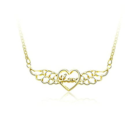 Gnzoe Gold Plated Fashion Hollow Love Heart Angel Wing Pendant Gold Necklace for Women