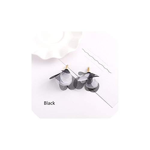 10Pcs / Pack-Chiffon Blumen Quaste Diy handgemachte Zusätze Ohrring-Halskette dekorative Anhänger, 45mm, schwarz (Graduierung Kappe Perlen)