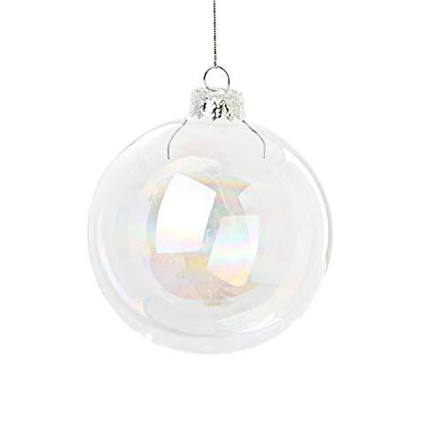 Succulent style, 12 palline iridescenti in vetro per decorare l'albero di natale, misura: 6 cm