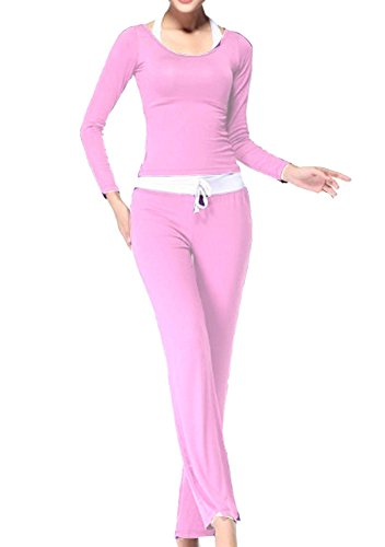 Donna Tute Sport Fitness Yoga Danza Maglietta E Yoga Pilates Pantaloni PinkL