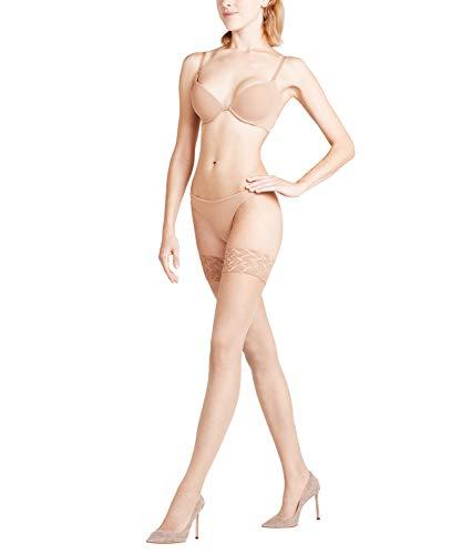 FALKE Damen Stay-Ups Shelina Decorative Lace 12 DEN, Ultra-Transparente, 1 Stück, Beige (Powder 4169), Größe: 9.5-10