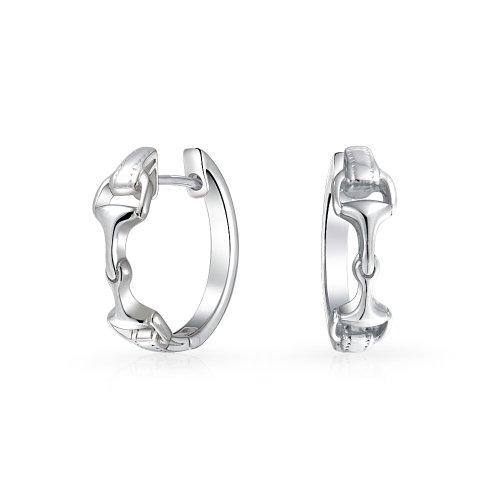Pferdesport Equine Geschenk Horsebit Cowgirl Scharnier Ohrringe für Frauen Teen Poliert 925er Sterling Silber. 75 In