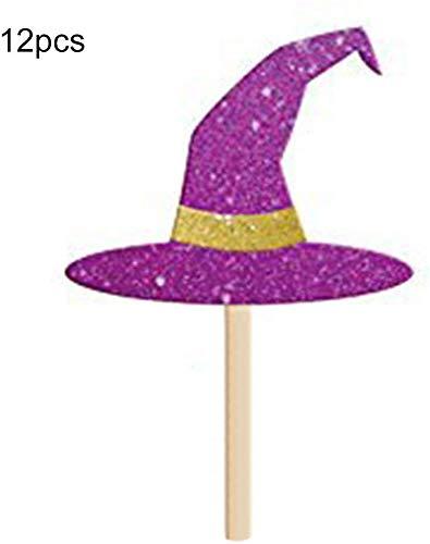 Cupcake Toppers 12 Teile Party Lustig Geburtstag Fledermaus Halloween Mini Hexenhut Dekorationen (Hexe Hatwitch Hut) - Hexenhut, witch (Süße Cupcake Kinder Kostüm)