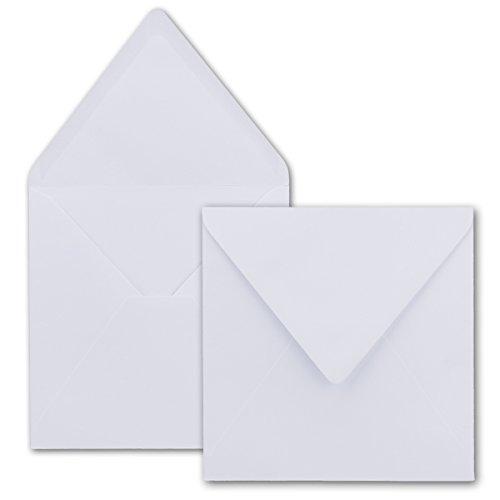 Quadratische Brief-Umschläge ohne Fenster in Hochweiss - 50 Stück - 15,5 x 15,5 cm - Nassklebung - Für Hochzeits-Karten, Einladungskarten und mehr - Serie FarbenFroh®