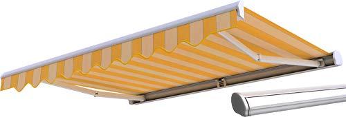 Broxsun Kassettenmarkise Dallas | Breite 2.0 bis 6m | 120 Stoffe Farben | Auslage bis 3.6m. manuell oder elektrisch | wetterfeste Markise mit Motor Sonnenschutz Terrasse beschattung breit