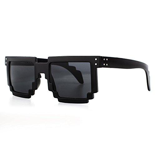 Distressed Pixel Sonnenbrille im Retro Stil 70er 80er (schwarz-getönt)