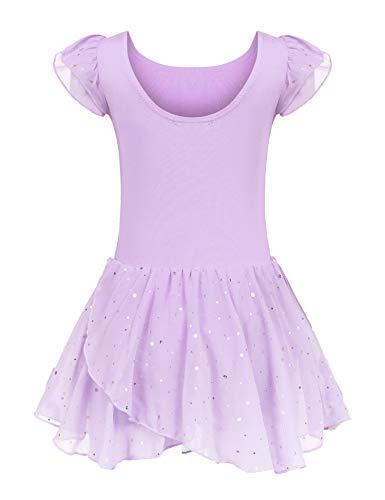 Kinder Ballettkleidung Ballettkleid Mädchen Kurzarm Baumwolle Balletttrikot Ballettanzug Tanzkleid Tanzbody mit Rock Tütü, Lila, 130 / 4-5 Jahre