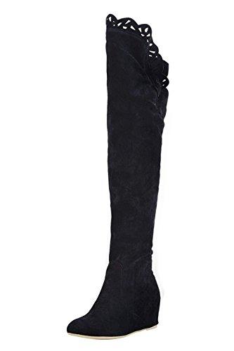 Bottes a talons hauts elastiques - SODIAL(R)Mode cuisse de Dentelle Au-dessus du genou Chaussures elastiques Bottes a talons hauts noir 39
