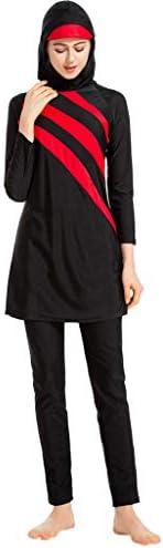Women Muslim 3PCS Swimwear With Cap ❀ Ladies Fashion Striped Print Plus Size Long Sleeve Beach Tankini Swimsui