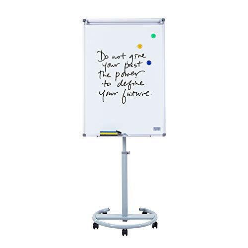 S SWANCROWN Mobiles Flipchart Whiteboard Magnetisch mit Rundfuß   Höhenverstellbar   Inklusive Papier Magnete Stift Schwamm, 100X70cm