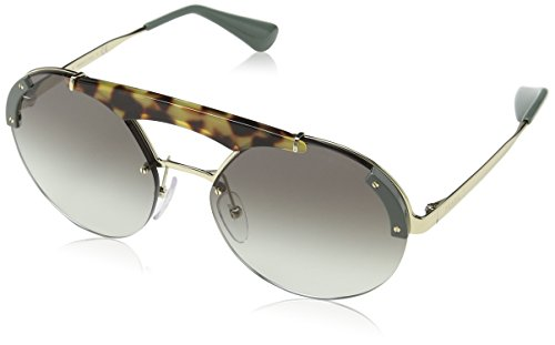 Prada Damen 0PR52US SZ60A7 37 Sonnenbrille, Grün (Pale Gold/Medium Havana/Green/Grey),