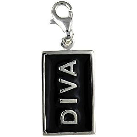 Plata de ley y esmalte negro colgante del encanto de la Diva